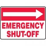 "Accuform MFXG539VP, Sign ""Emergency Shut-Off"" & Right Arrow Symbol"