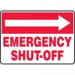 "Accuform MFXG539VS, Sign ""Emergency Shut-Off"" & Right Arrow Symbol"