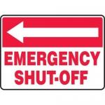 "Accuform MFXG540VP, Sign ""Emergency Shut-Off"" & Left Arrow Symbol"