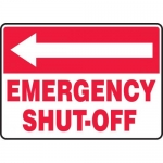 "Accuform MFXG540VS, Sign ""Emergency Shut-Off"" & Left Arrow Symbol"