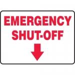 """Accuform MFXG541VP, Sign """"Emergency Shut-Off"""" & Down Arrow Symbol"""