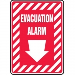 """Accuform MFXG585VS, Vinyl Sign """"Evacuation Alarm"""" & Down Arrow Symbol"""