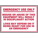 "Accuform MFXG921VS, Sign ""Emergency Use Only – Misuse or Abuse…"""