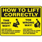 """Accuform MGNF504XP, Accu-Shield Sign """"How to Lift Correctly"""""""