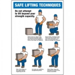 """Accuform MGNF512XP, Accu-Shield Sign """"Safe Lifting Techniques"""""""