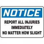 """Accuform MGNF864VP, Sign """"Report All Injuries Immediately No …"""""""