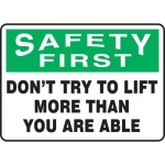 "Accuform MGNF901VA, Safety Sign ""Don't Try to Lift More Than You …"""