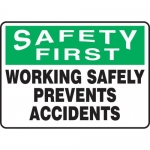 "Accuform MGNF913VA, Aluminum Sign ""Working Safely Prevents Accidents"""