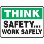 """Accuform MGNF923VP, Plastic Sign """"Think Safety… Work Safely"""""""