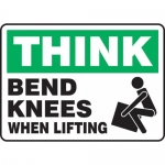 """Accuform MGNF930XP, Accu-Shield Sign """"Think Bend Knees When Lifting"""""""