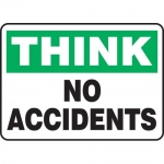 "Accuform MGNF937VA, 10″ x 14″ Aluminum Sign: ""Think No Accidents"""
