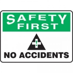 "Accuform MGNF958VA, Aluminum Sign ""Safety First No Accidents"""