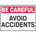 "Accuform MGNF965VP, Plastic Sign ""Be Careful Avoid Accidents"""