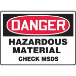 "Accuform MHCM001XF, Sign ""Danger Hazardous Material Check MSDS"""