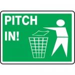 """Accuform MHSK400XP, 10″ x 14″ Accu-Shield Sign: """"Pitch in!"""""""