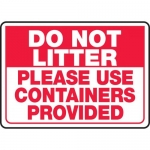 """Accuform MHSK504XP, Sign """"Do Not Litter Please Use Containers …"""""""