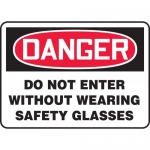 """Accuform MPPA016XT, Sign """"Do Not Enter Without Wearing Safety Glasses"""""""