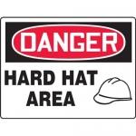 "Accuform MPPA106VP, 14″ x 20″ Plastic Sign: ""Danger Hard Hat Area"""