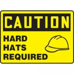 "Accuform MPPA642VA, Aluminum Safety Sign ""Caution Hard Hats Required"""