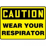"""Accuform MPPA654VP, Plastic Sign """"Caution Wear Your Respirator"""""""