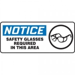 "Accuform MPPA807VP, Sign ""Notice Safety Glasses Required in This Area"""