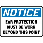 """Accuform MPPA809VS, Sign """"Ear Protection Must Be Worn Beyond…"""""""