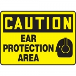 """Accuform MPPE708VS, Vinyl Sign """"Caution – Ear Protection Area"""""""