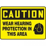 """Accuform MPPE714VS, Vinyl Sign """"Wear Hearing Protection in This Area"""""""
