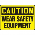 "Accuform MPPE726VA, Aluminum Sign ""Caution – Wear Safety Equipment"""