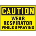 "Accuform MPPE754VA, Sign ""Caution – Wear Respirator While Spraying"""