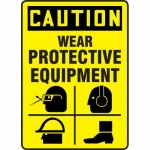 """Accuform MPPE755VP, Plastic Sign """"Caution – Wear Protective Equipment"""""""