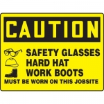 """Accuform MPPE775XT, BIGSigns Sign """"Safety Glasses, Hard Hat, Works…"""""""