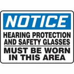 """Accuform MPPE804VS, Sign """"Hearing Protection and Safety Glasses …"""""""