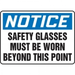 """Accuform MPPE809XF, Sign """"Safety Glasses Must Be Worn Beyond This …"""""""