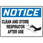 "Accuform MPPE817VS, Vinyl Sign ""Clean and Store Respirator After Use"""