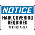 """Accuform MPPE839XF, Sign """"Hair Covering Required in This Area"""""""