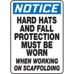 """Accuform MPPE850VP, Sign """"Hard Hats and Fall Protection Must Be …"""""""