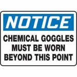 """Accuform MPPE862XF, Sign """"Chemical Goggles Must Be Worn Beyond …"""""""