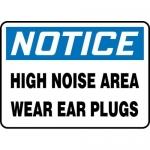 "Accuform MPPA812XP, Sign ""Notice High Noise Area – Wear Ear Plugs"""