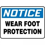 """Accuform MPPA815VS, Adhesive Vinyl Sign """"Notice Wear Foot Protection"""""""