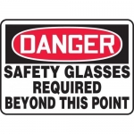 """Accuform MPPE014VP, Sign """"Safety Glasses Required Beyond This Point"""""""