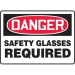 "Accuform MPPE025VA, Aluminum Sign ""Danger Safety Glasses Required"""