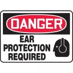 """Accuform MPPE031XT, Dura-Plastic Sign """"Danger Ear Protection Required"""""""