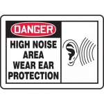"Accuform MPPE034XP, OSHA Sign ""High Noise Area – Wear Ear Protection"""