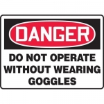 """Accuform MPPE040VP, Sign """"Do Not Operate Without Wearing Goggles"""""""