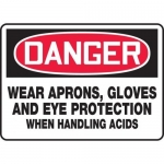 "Accuform MPPE102VA, Sign ""Wear Aprons, Gloves, and Eye Protection…"""