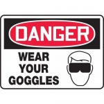 """Accuform MPPE136VP, 10″ x 14″ Plastic Sign: """"Danger Wear Your Goggles"""""""