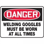 "Accuform MPPE161XL, Sign ""Welding Goggles Must Be Worn at All Times"""