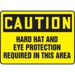 """Accuform MPPE416XT, Sign """"Hard Hat and Eye Protection Required…"""""""