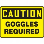 """Accuform MPPE423XT, Dura-Plastic Sign """"Caution – Goggles Required"""""""